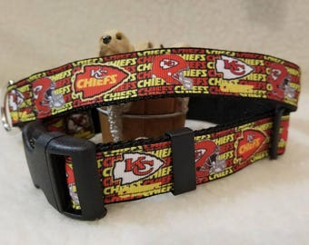 Chiefs Handmade Dog Collar 1 Inch Wide Large & Medium