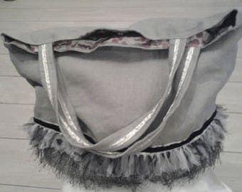 Linen tote bag has tulle, Ribbon, lace fringe
