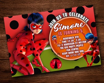 Lady Bug Invitation Card, For Kids, Party Birthday Card,