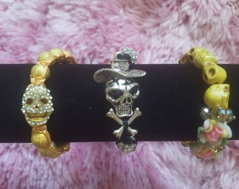Fabulous Day of the Dead/Halloween/Sugar Skull Vintage Bracelets - Black with Metal Skull - Yellow with Rhinestone Skull - Yellow & Flowers