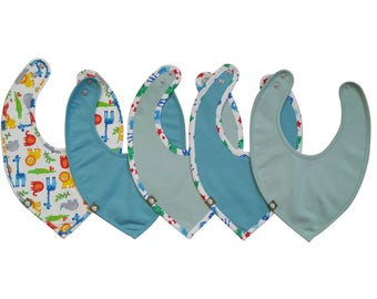 Organic Cotton Baby Bibs,Bibs Set of 5,Baby Boy Bibs,Bandana Bibs,Blue Baby Clothes,Organic Cotton Baby Wear,Animal Print