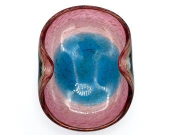 Murano Glass Bowl, Seguso Vetri d'Arte by Flavio Poli in Incalmo Style w/ Gold Dusted-Aventurine Pink and Blue Center Midcntury '50s
