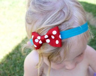 Red, White and Blue headband / Fourth of July headband / Bow headband / Baby headbands / Newborn headband / Polka Dot Bow