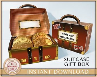 DIY Suitcase candy gift, treat, favour box printable . Travel design - Party favour box. Digital INSTANT download
