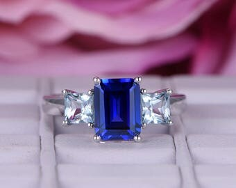 Emerald Cut Sapphire Engagement Ring/14k White gold diamond band/Bridal wedding ring/6x8mm Birthstone gift/Claw prong/Plain Band/Pave set