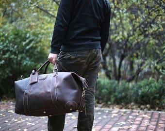 Brown Leather Weekender Bag/ Duffel Bag/ Carry-on Bag/ Gym Bag/ Multi-Purpose Bag/ Personalized Duffel/ Custom Bag