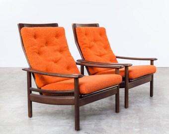 Pair Of Teak Wooden Scandinavian Lounge Chairs   Vintage Danish Sofa   Scandinavian  Furniture   Teak