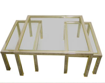 Hollywood regency set of brass and chrome coffee tables in the style of romeo rega - willy rizzo - mid century brass and chrome tables 1970s