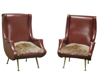 Pair of vintage italian armchairs with brass leggs, 1960s - mid century modern italian arm chairs - pair of faux leather italian chairs
