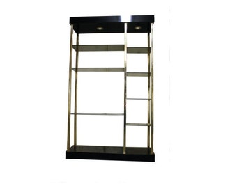 Hollywood regency wall unit by Belgochrom 1970s - brass and lacquered wood etagere - mid century wall unit - vintage shelve with light