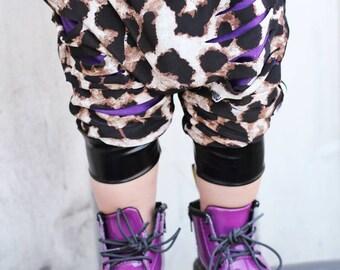 Wild Shreds Leopard Cheetah Purple Shredded Harem Shorts Faux Leather Trendy Boy Girl Baby Toddler Hipster Rocker