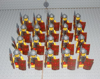 20 minifigures Roman soldiers with shield and spear, Romans, LEGO, custom, new