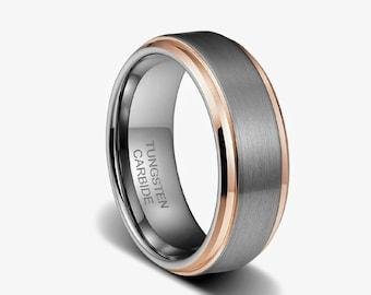 tungsten rose gold etsy - Mens Wedding Rings Tungsten