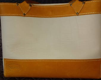 Sunset and Cream Leather Tote
