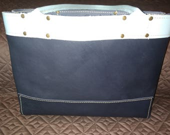 Navy and Sky Leather Tote