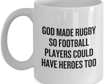 Funny Rugby Mug - Rugby Player Gift Idea - God Made Rugby - Rugby Fan Present