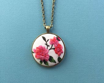 Peony floral 1 - hand embroidered pendant