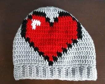 Legend of Zelda Heart Container Slouchy Beanie Crochet Hat