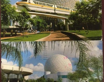 Vintage two (2) 1980s Walt Disney World Epcot Center used postcards