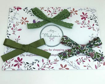 Autumn Greens Trio-Babys headband- Bows-Girls headband-