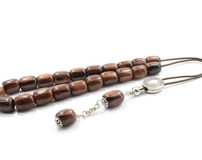 Brown Obsidian Komboloi, Worry Beads, Greek Komboloi, Obsidian, Stress Relief, Gift for Him, Made in Greece, Gift for Dad, Father Gift