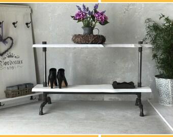 Industrial shelf steel tube 80 cm wide wardrobe bar timber vintage wardrobe furniture
