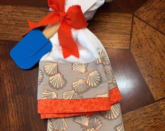 2 Sea Shell Flour Sack Dish Towels