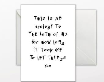 PRINTABLE GREETING CARD - Apology card - Just Because card - I'm Sorry card - printable card template