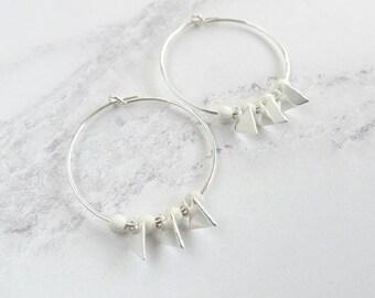 Sterling Silver Earrings - Sterling Silver Hoops - Silver Hoop Earrings - Triangle Earrings - Silver Charm Hoops - Silver Beaded Earrings