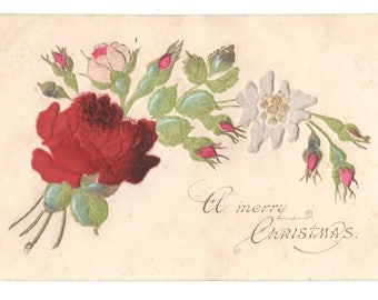 Vintage Novelty Christmas Postcard,Applied FELT ROSES and FLOWERS, c1910