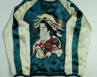 Japanese Vintage Maiko Geisha Oiran Taiko Ryu Dragon Sakura Cherry Blossoms Turquoise Blue Green Black Satin Sukajan Souvenir Jacket SK1273
