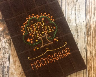 Happy Fall Y'all Brown Personalized Kitchen Towel - Hand Towel - Fall Autumn Towel - Embroidered Towel