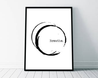 Breathe Quote, Breathe Printable, Printable Quote, Abstract Typography, Typography Print, Wall Art Poster, Breathe Poster, Typography Poster