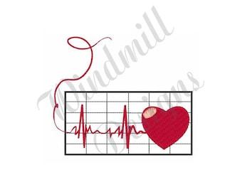 Love Heart Cardiogram - Machine Embroidery Design