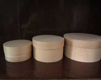 French cottage style, wood boxes, decoupage boxes, eco gift box, unfinished unpainted natural boxes, set of 3 round boxes