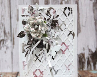 Romantic card with big rose in shades of pink and grey