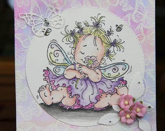 Card with lovely fairy and butterflies