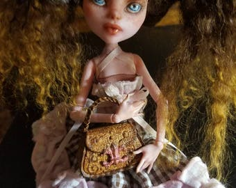 Sweetest Draculaura Monster High OOAK Repaint /Rehair with Custom Outfit, Handpainted Faux Leather  Purse and Matching Mary Jane Shoes