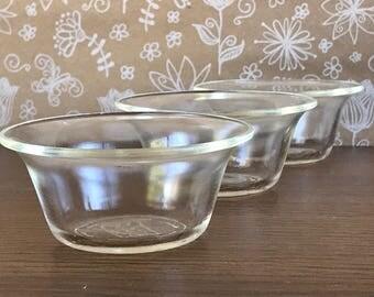 3 Vintage Glasbake Ramekins/ Custard/ Condiment Cups with lip