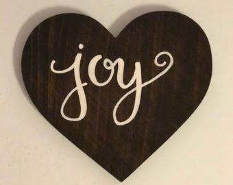 Ready to ship! Joy handpainted wood heart wall decor | handpainted wood wall decor | wood wall decor | wood sign