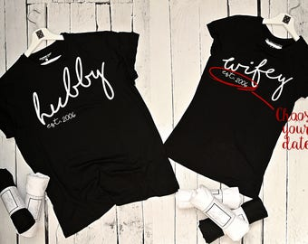 """T-shirt for couple """"Hubby and Wifey"""""""