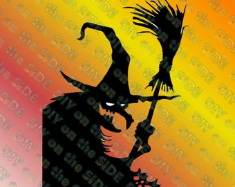 SVG Cut File Halloween Witch Window Instant Download
