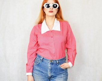 Super cute 90s does the 50s Vintage Heart Polka Dot Pin Up Style Long Sleeve Blouse in Pink size 12