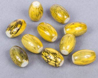 20 olive glass painted yellow and green beads