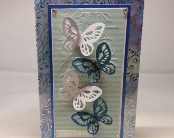 Female Birthday Card - Butterflies - luxury personalised unique quality special bespoke UK - Mum/Grandma/Daughter/Aunt/Niece/Sister/Wife