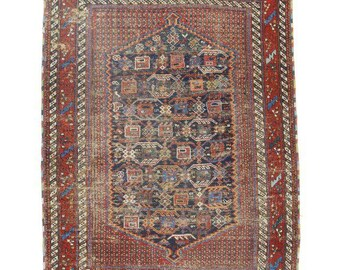 Antique Russian Hand Knotted Wool Rug - 4′ × 5′5″ Red, Rust, Blue  # 14352