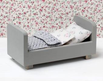 Wooden miniature bed, doll mattress, doll pillow, doll duvet, doll crocheted blanket, miniature bed, miniature furniture, doll furniture