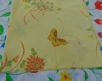 Cannon Gold Label Full Flat Sheet Rich Cream Bkgd. Multi -Colored Butterflies