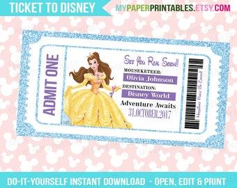 Belle Disney Princess Printable Ticket To Disney DIY Personalize INSTANT DOWNLOAD Disney World Disneyland Surprise Pass Disney Princess
