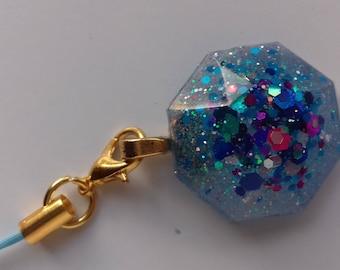 Blue glitter resin phone charm, bag charm, zipper charm, planner charm